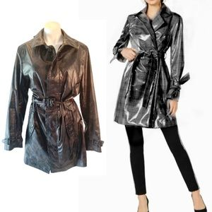 NWT International Concepts Black Rain Trench Coat.